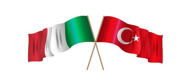 トルコとイタリアの 2 つの交差した旗 ビジネス ツーリストの国際関係の概念