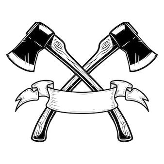 Two crossed hatchets with ribbon. design element for logo, label, sign, poster, card, banner. vector illustration