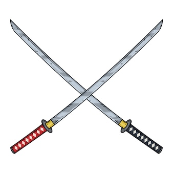 Two crossed katanas