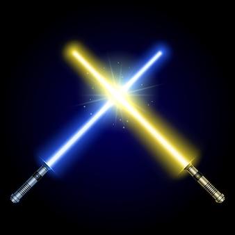 2つの交差した光の剣が戦う。