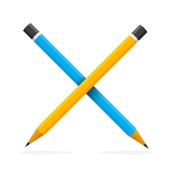 Два скрещенных карандаша изолированы. концепция образования