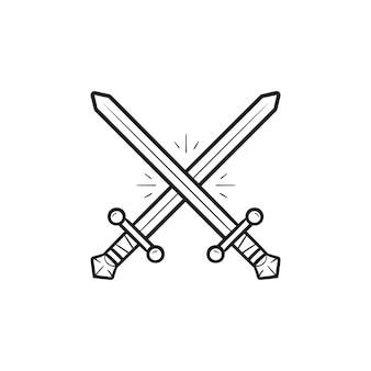 2つの交差した剣手描きのアウトライン落書きアイコン。ファイトアンドバトルゲーム、ビデオゲーム、ウォーウェアポンのコンセプト。白い背景の上の印刷、ウェブ、モバイル、インフォグラフィックのベクトルスケッチイラスト。