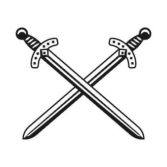 두 개의 교차 칼 무기 벡터 흑백 디자인 개체 또는 흰색 배경에 고립 된 그래픽 요소