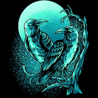 暗闇の中で2羽のカラス