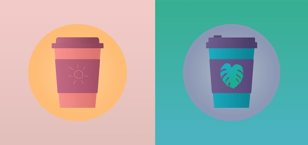 ホルダーに熱帯植物のプリントが入ったコーヒー2杯