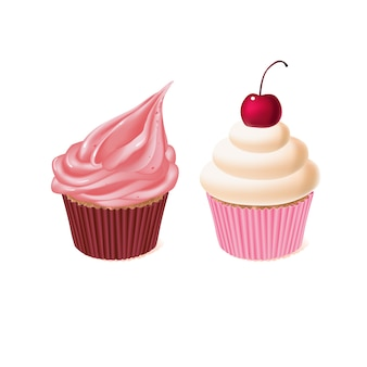 Two cupcakes, tasty cakes, sweet pastry. delicious homemade confectionery with cream