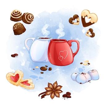 温かい飲み物、お菓子、芳香のスパイスが入った2つのカップ。