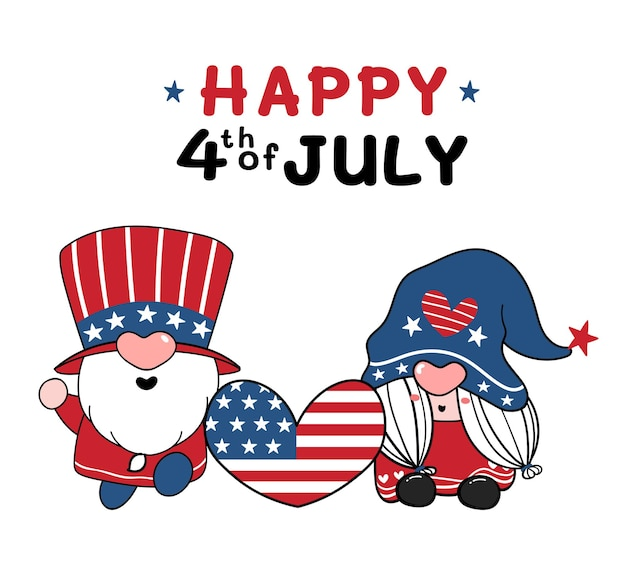 Two cute american gnome 4th of july independence day