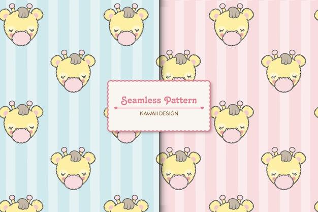 두 개의 귀여운 아기 기린과 줄무늬 완벽 한 패턴.