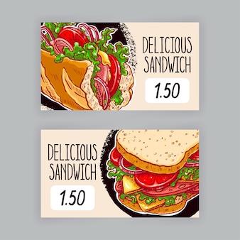 식욕을 돋우는 샌드위치와 함께 두 개의 귀여운 배너입니다. 가격표. 손으로 그린 그림