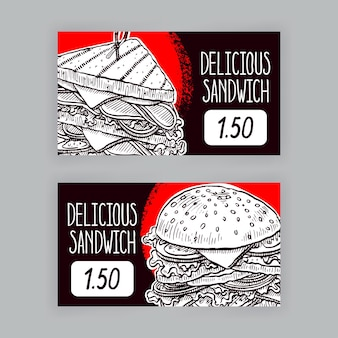 食欲をそそるサンドイッチと2つのかわいいバナー。値札。手描きイラスト