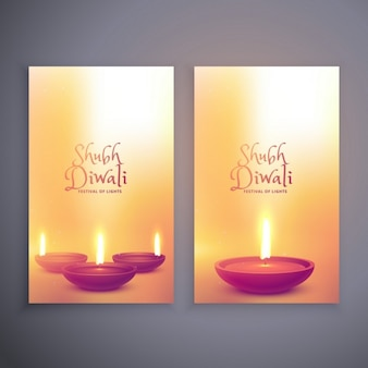 Two cute banners with candles for diwali