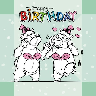 Two cute bears are celebrating birthdays