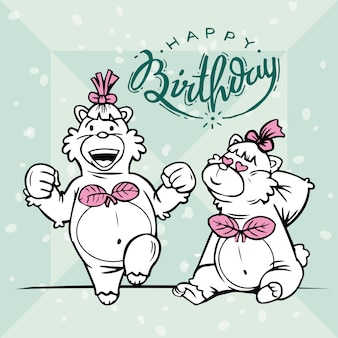 Two cute bears are celebrating birthdays