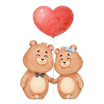 Два милых медведя, влюбленных в сердце из воздушного шара, акварель на день святого валентина