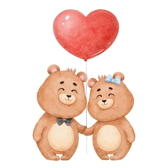 Two cute bears in love with a balloon heart, watercolor illustration for valentine's day
