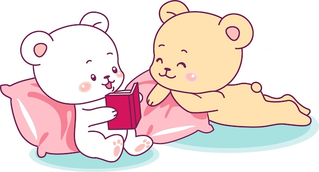 Two cute bears reading a book