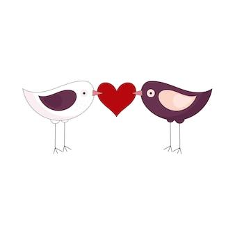 2羽のかわいい鳥がくちばしにハートを持っています。バレンタインデーの休日の装飾。白い背景で隔離のベクトルイラスト。