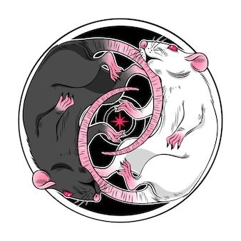 Иллюстрация двух милых черно-белых темных волшебных крыс