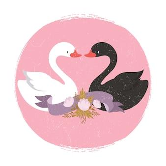 Два милых мультипликационных персонажа лебедей в баннере liove