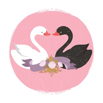 Two cute cartoon character swans in liove banner