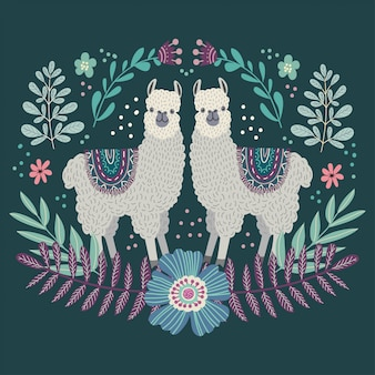 Two cute cartoon llamas. hand drawing flat doodles vector