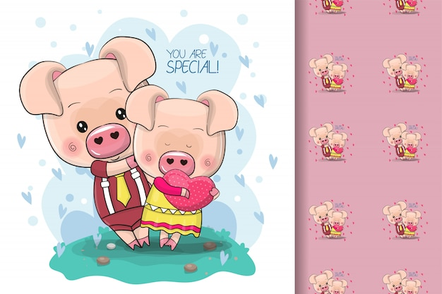 Two cute cartoon pigs on a blue background for kids