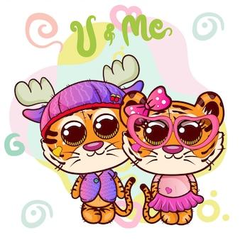 Два милых мультяшных тигриных мальчика и девочка - вектор