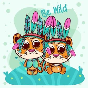 Два милых мультяшных тигриных мальчика и девочка с перьями - вектор