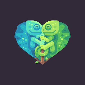Two cute chameleons on a branch in the shape of a heart. valentine's day flat illustration.