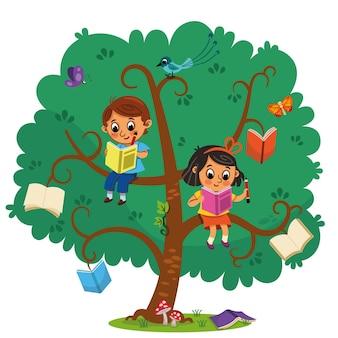 두 명의 귀여운 어린이 소년과 소녀가 책의 나무에서 책을 읽고 있습니다. 벡터 일러스트 레이 션