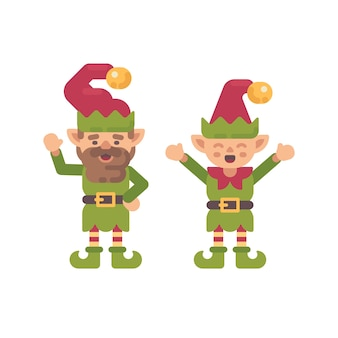 Two cute christmas elves flat illustration. holiday character flat icon