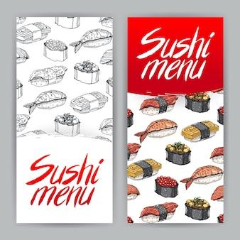 寿司メニューのかわいいカバー2枚。手描きイラスト-2