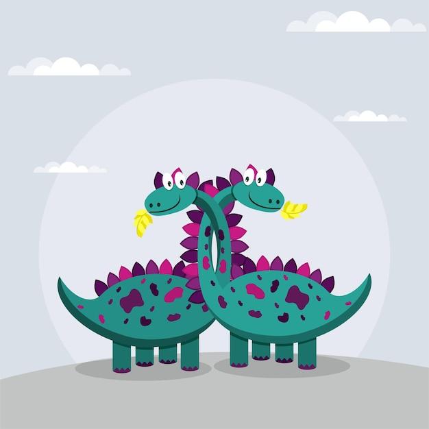 長い首を抱き締める2匹のかわいい恐竜。ベクトルイラスト。
