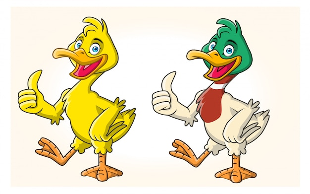 Two cute duck cartoons in different colors.