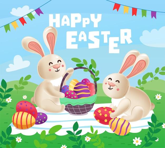 卵のバスケットを持つ2つのかわいいイースターバニーが芝生の上に座っています。