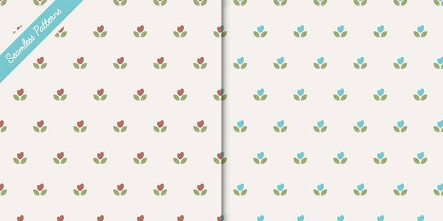 Two cute floral seamless patterns premium vector