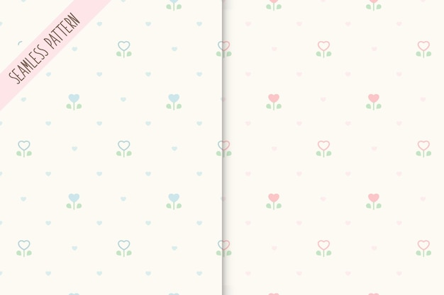 두 개의 귀여운 꽃 원활한 패턴 세트