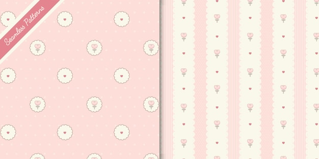 Two cute flowers and hearts seamless pattern premium vector