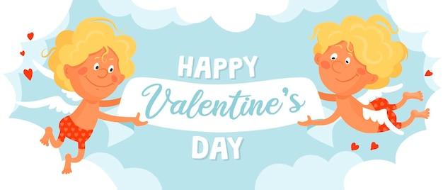 赤いショートパンツの2つのかわいい面白いキューピッドが雲の中を飛んでいて、バレンタインデーのリボンバナーを持っています。