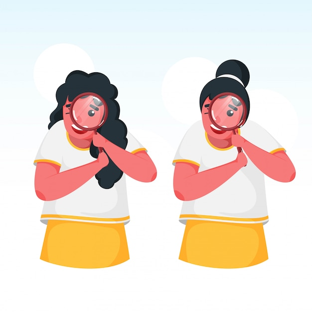 Two cute girls searching from magnifying glass on white background.