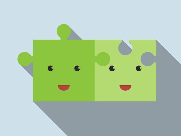 灰色の背景、長い影の上に横たわって接続された2つのかわいい緑のジグソーパズルのキャラクター。接続、チームワーク、ソリューション、団結、関係の概念。 eps 10ベクトルイラスト、透明度なし
