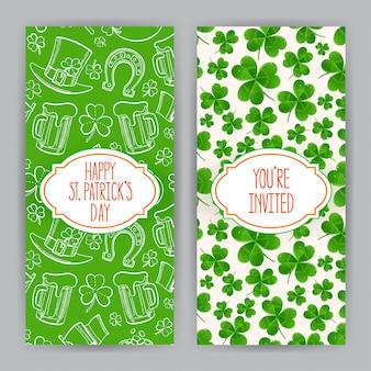 聖パトリックの日のための2つのかわいいグリーティングカード