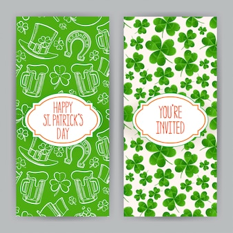 Two cute greeting cards for st. patrick`s day