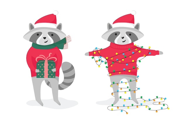 Two cute holiday raccoons with gift and garland