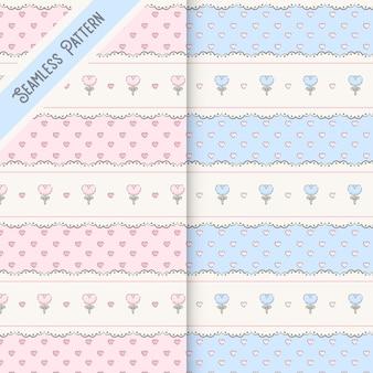 ピンクとブルーのシームレスなパターンの2つのかわいいレースと花のセット