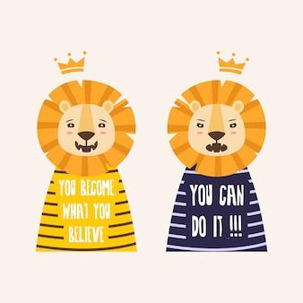 Два милых льва с цитатами Premium векторы