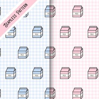 Две милые коробки молока бесшовные модели