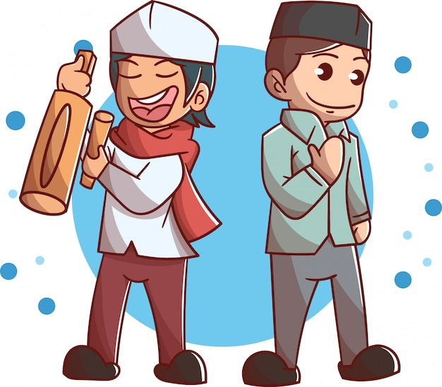 Two cute muslim boy charater