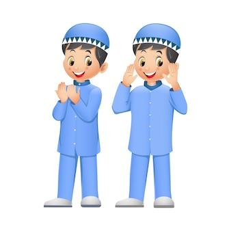 Two cute muslim kid cartoon
